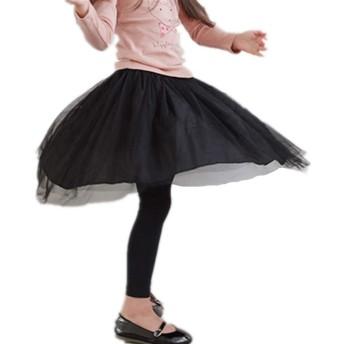 チュールスカート 付きレギンス キッズ スカッツ チュール スカッツ 子供服 女の子 (130cm, ブラック)