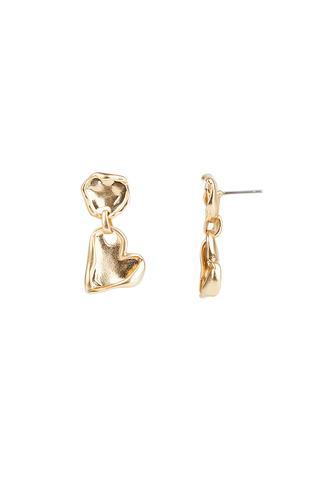 Organic Metal Heart Drop Earrings