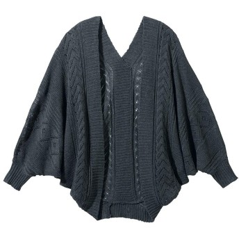 [nissen(ニッセン)] 7分袖透かし編柄モモンガカーディガン ニッセン商品 杢チャコールグレー L