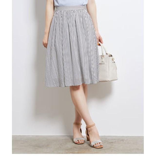 【SALE開催中】【ROPE' PICNIC:スカート】シアーチェックギャザースカート