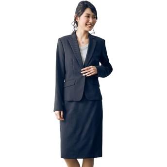 [nissen(ニッセン)] トールサイズ 洗える定番タイトスカートスーツ ニッセン商品 B・黒×ライトグレーストライプ 17TT