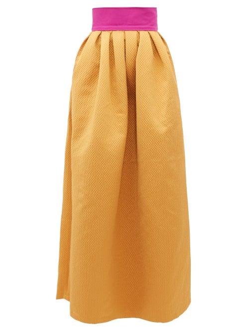 Marta Ferri - Contrast-waistband Cloqué-satin Maxi Skirt - Womens - Gold