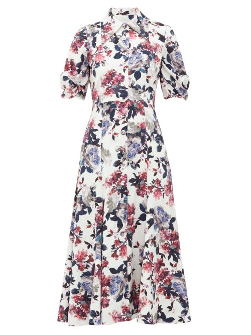 Erdem - Gisella Floral Satin-jacquard Shirt Dress - Womens - White Multi