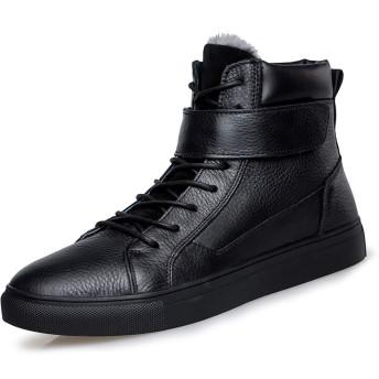[SJXIN-Mens Boots] レザーブーツメンズ、メンズファッショナブルなアンクルブーツカジュアル快適な屋外のハイトップコットンブーツ(フリースオプション裏地) (Color : Warm Black, サイズ : 23 CM)