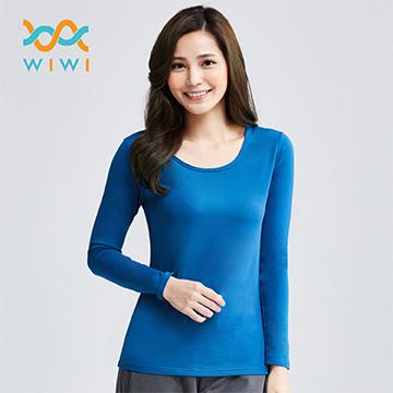 【WIWI】MIT溫灸刷毛圓領發熱衣(翡翠藍 女)