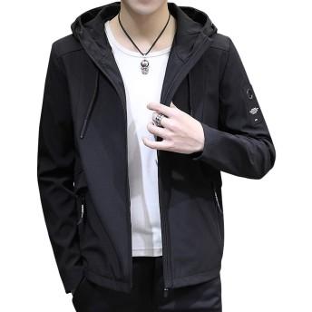 Sukinana ジャケット メンズ 秋冬 カジュアル 防風防寒 フード付き アウター 大きいサイズ おしゃれ メンズ 服 軽量 コート (Medium, ブラック)
