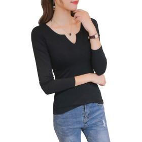 LINGEW レディース Tシャツ Vネック 長袖 トップス カジュアル シンプル カットソー ブラック M