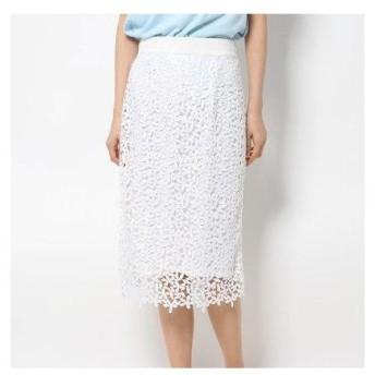 クリスセリーン CHRISCELIN フラワーレースタイトスカート (ホワイト)