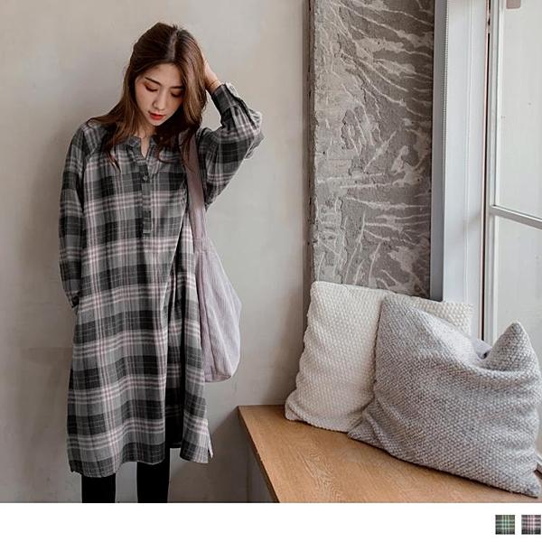 《DA7046-》文青風高含棉復古格紋長袖洋裝 OB嚴選