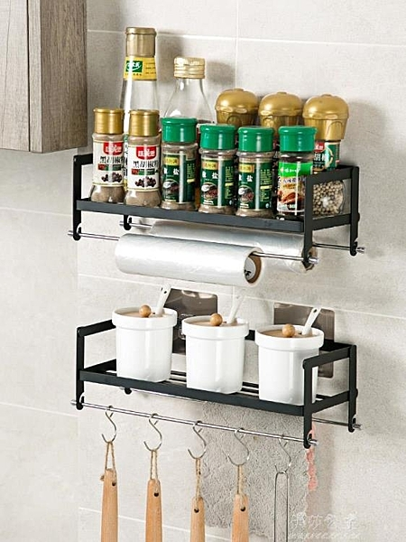 居家家鐵藝廚房壁掛置物架調味品掛架免打孔調料架整理架收納架 伊莎公主