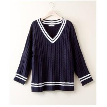 セーター ニット 大きいサイズ レディース ケーブル編み チルデン プルオーバー bi abbey 冬  LL/3L ニッセン