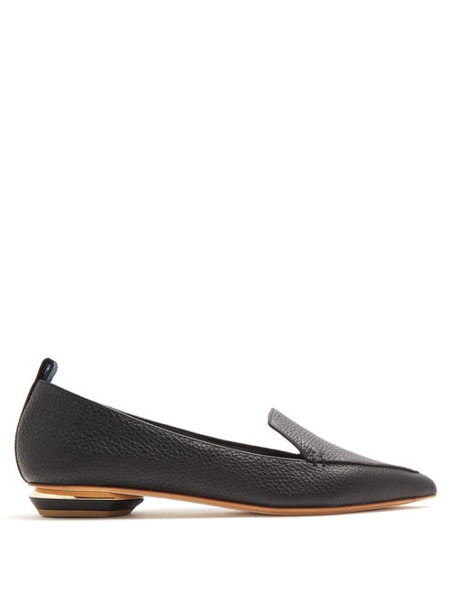 Nicholas Kirkwood - Beya Point-toe Grained-leather Loafers - Womens - Black