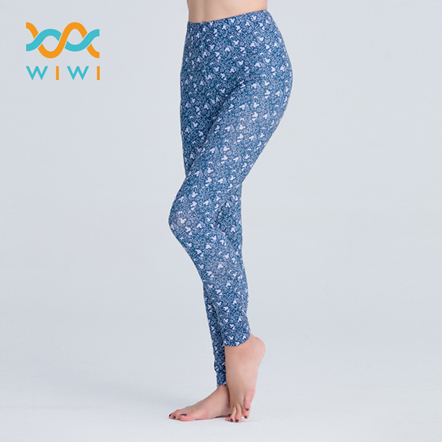 【WIWI】插畫米奇溫灸刷毛九分發熱褲(藍紫色 女S-2XL)