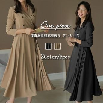 ヴィンテージ風の服の女性OL気質のワンピース2019秋新型は腰を収めてやせています/プリーツのスカート/着痩せ ワンピース