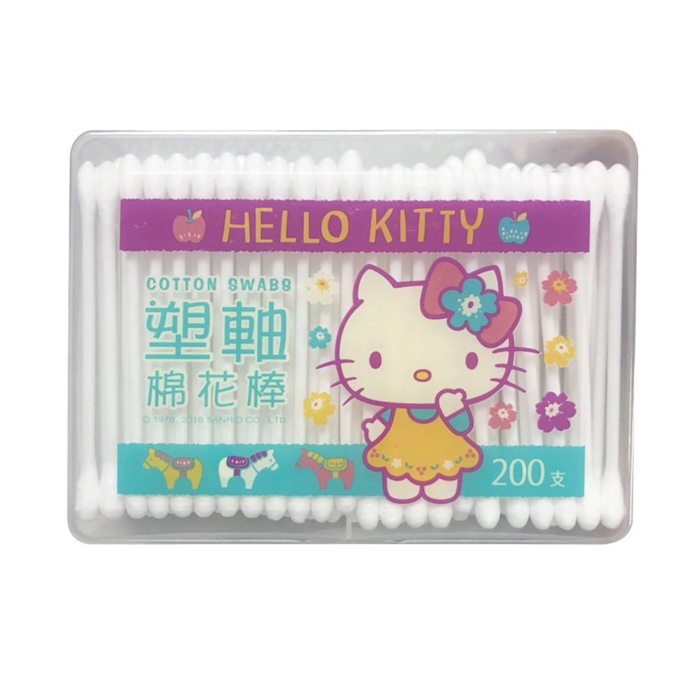 Hello Kitty 凱蒂貓塑軸棉花棒200支(盒裝) 高韌性塑膠軸桿不含螢光劑