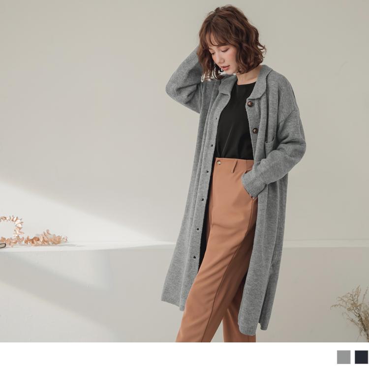 純色琥珀排釦襯衫領針織長袖洋裝/外套