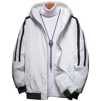 [ネルロッソ] ブルゾン メンズ フード パーカ ジャンパー 防寒 ウインドブレーカー ジャケット 大きいサイズ スタジャン 正規品 XXL ホワイト cml24232-XXL-wh