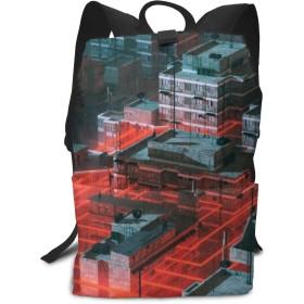 バックパックリュックサックラップトップバッグ 大容量 カジュアルバッグ 未来の街 旅行バッグ 通学用