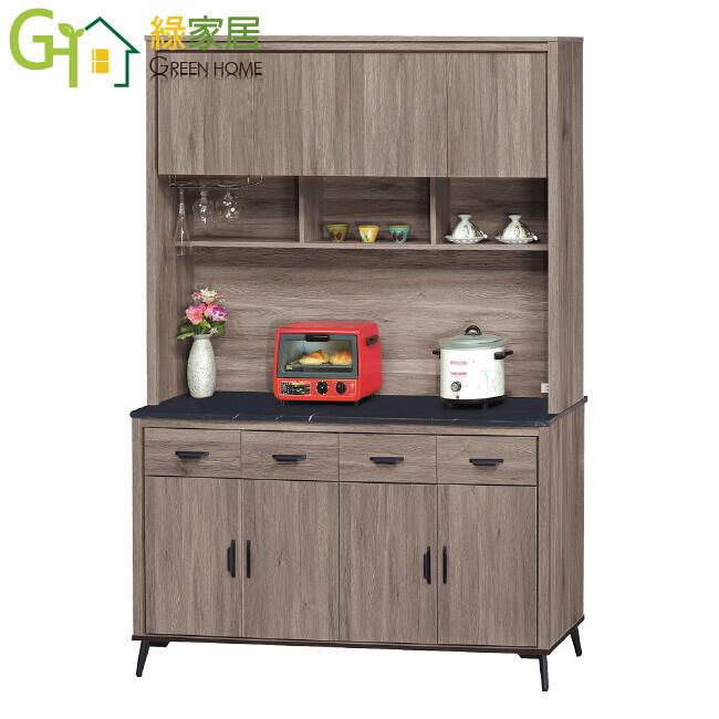 綠家居菲迪 現代風5尺黑紋石面餐櫃/收納櫃組合(上下座)