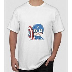 Flyy-Tシャツメンズキャプテンアメリカプリント半袖Tシャツ
