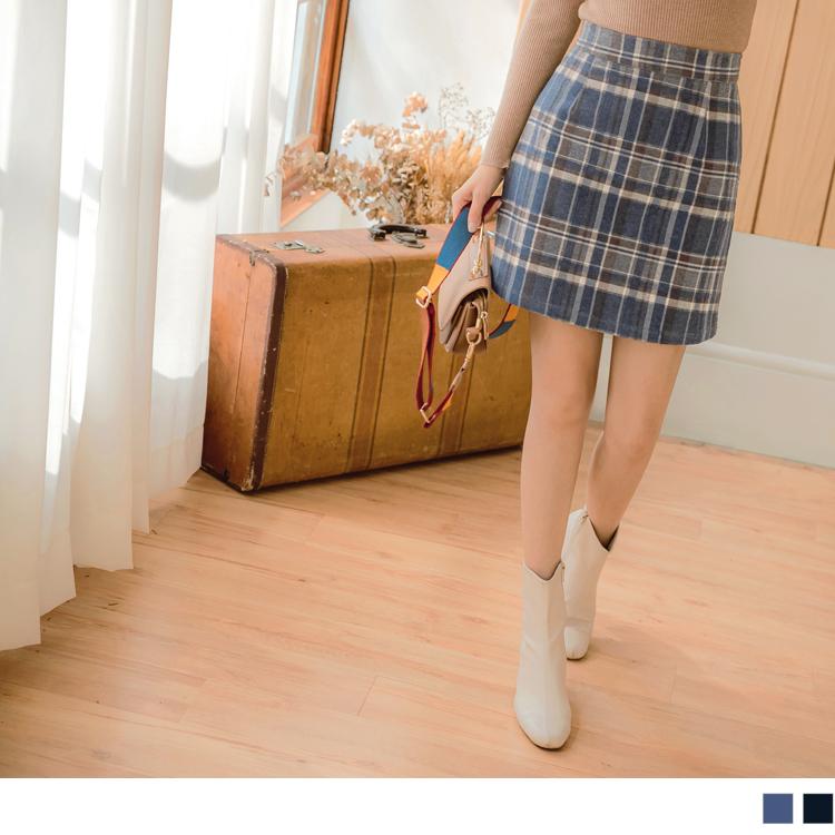磨毛英倫質感格紋後拉鍊褲裙
