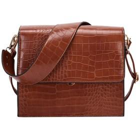 ファッション女性石柄掛け金ハンドバッグ大容量ソリッドカラーショルダーバッグメッセンジャーバッグ電話バッグ (褐色)