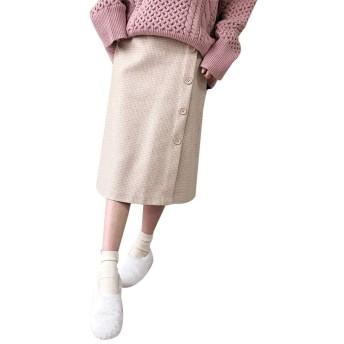 Lecoonチェックスカート レディース ラシャスカート ハイウエスト Aライン ひざ丈 ミディアム丈 秋冬 通勤 着瘦せ 可愛い