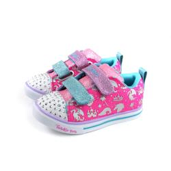 SKECHERS  Twinkle toes 休閒布鞋 電燈鞋 魔鬼氈 小童 童鞋 桃紅色 20274NHPMT no111