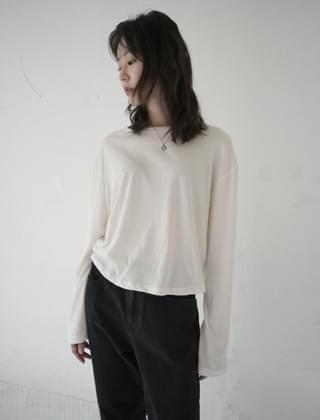韓國空運 - soft texture cropped top (4colors) 長袖上衣