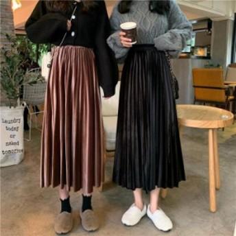 ベロア ハイウエスト ロング プリーツスカート シンプル 無地 ベーシック カジュアル 大人 きれいめ フェミニン ガーリー レトロ かわい