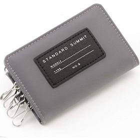 ロゴ英字プレート キーケース パスケース スマートキー カードケース コインケース メンズ かっこいい おしゃれ レディース 鍵 カギ サイフ 財布 定期入れ 通学 通勤 icカード コンパクト 小銭入れ カード収納 フラグメントケース (グレー)