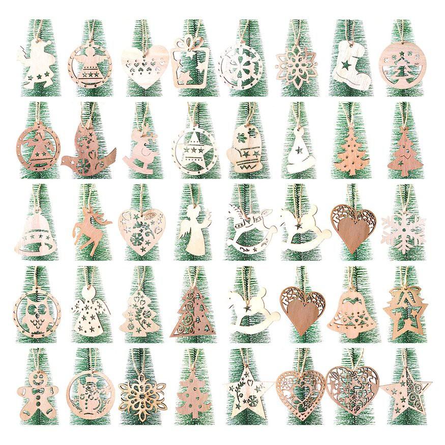 木質北歐復古DIY聖誕老人工藝品挂件 [3個一包配3根麻繩 3顆木珠] 愛心 天使 聖誕樹裝飾品 吊墜 潮可聖誕
