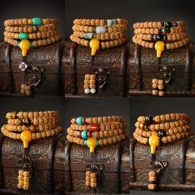 【泥肉貔貅紋金剛菩提子108顆手串-9mm-1款/組】男女佛珠項鍊長款配飾尼泊爾原籽手鏈-7501044
