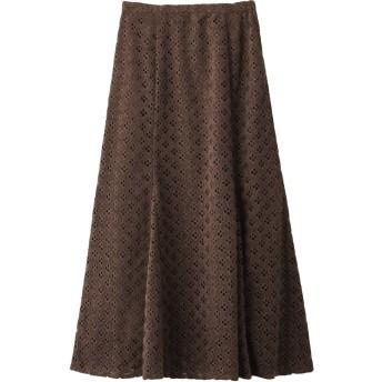 SALE 【60%OFF】 ROSE BUD ローズバッド 透かしナロースカート ブラウン