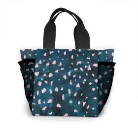 青とピンクのヒョウの皮 トートバッグ おしゃれ レディース バッグ 買い物バッグ ランチバッグ エコバッグ ハンドバッグ