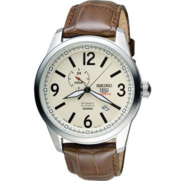 SEIKO 精工 經典五號盾牌軍用風格機械錶 4R37-01D0S 咖啡  SSA295J1