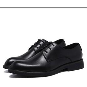 [Jusheng-shoes] メンズシューズ 男性のフォーマルドレスシューズレースアップブロックヒールポインテッドトゥノンスリップソリッドカラークラシックマイクロファイバーレザーオックスフォード カジュアルシューズ (Color : ブラック, サイズ : 24 CM)