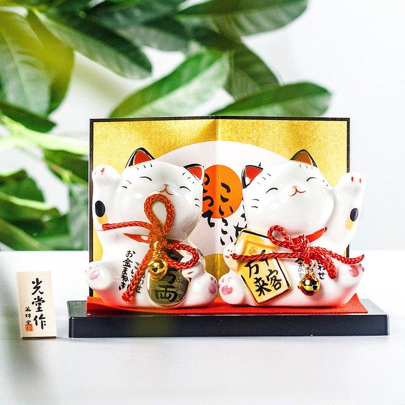 日本藥師窯彩繪財源廣進客似云來招財貓擺件生日開業喬遷送禮物