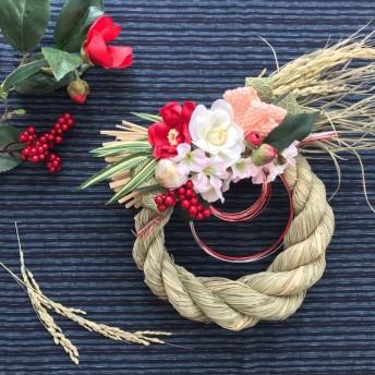 稲から育てたしめ縄・お正月飾り 紅白青海波