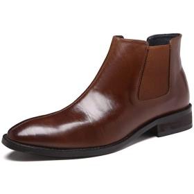 [Jusheng-shoes] メンズシューズ 本革ポインテッドトゥヒール3センチメートル弾性脇パテントレザーの上に引いて男性のアンクルブーツ(フリース内のオプション) カジュアルシューズ (Color : 褐色, サイズ : 23.5 CM)