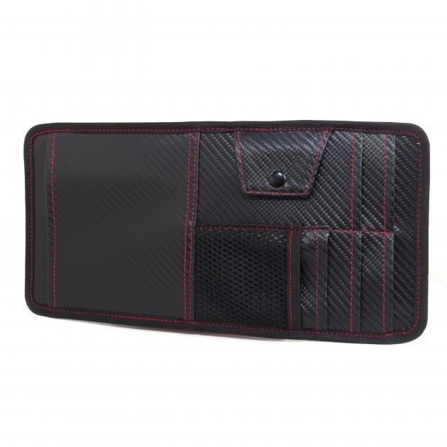 G-SPEED 多功能長型CARBON 碳纖紋紅線 遮陽板式置物袋收納袋套夾 JR-04