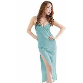 セクシー サイドスリット ロングドレス ★ レディース ワンピース タイト ドレス ワンピース ナイトウェア 青 A12-7
