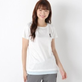 ミニーシャーリングエンボス切替フェイクレイヤードTシャツ【M~3L】