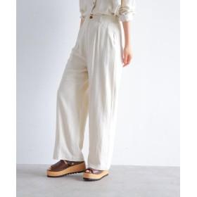 パンツ・ズボン全般 - OZOC リネンブレンドストレートワイドパンツ(セットアップ)