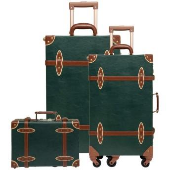 Urecity 可愛らしいハードスーツケースセット 復古調のトランクタイプのスーツケース XL/S/SS 3点セット 機内持ち込み可 卒業旅行 海外へ活用 (ダークグリーン)