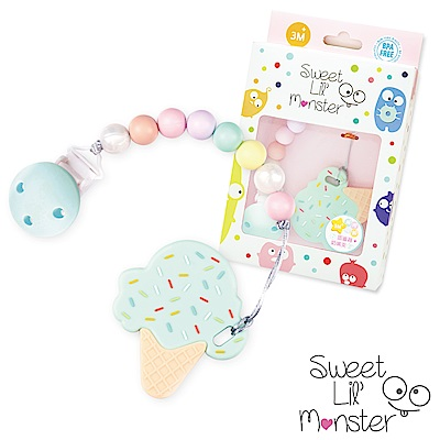 【Sweet Lil Monster】薄荷棉花糖冰淇淋固齒器/奶嘴鍊