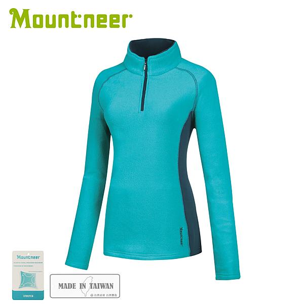 【Mountneer 山林 女刷毛保暖上衣《春綠》】32F06/保暖長袖/保暖中層
