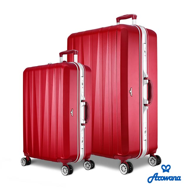 【Arowana 亞諾納】晶燦光影25+29吋鑽石紋耐刮鋁框旅行箱/行李箱 (酒紅色)