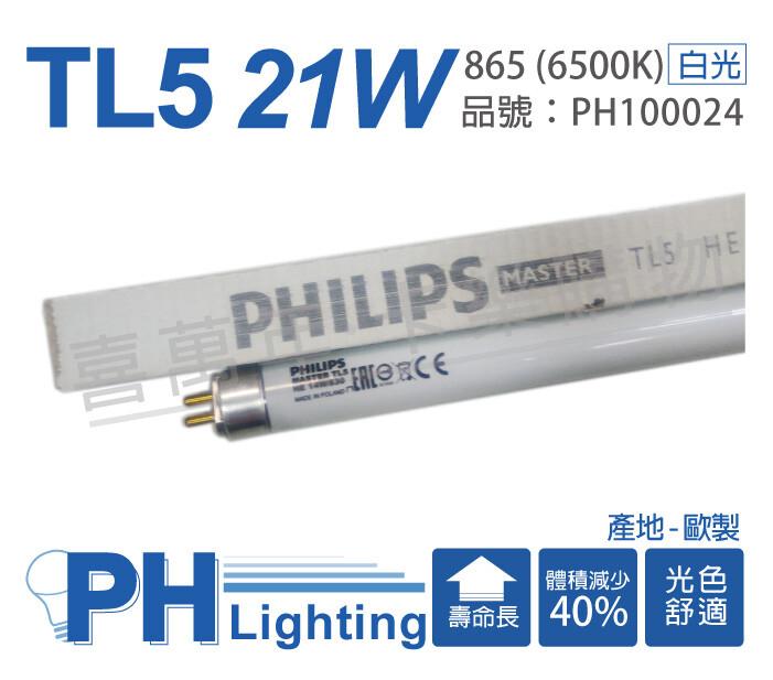 philips飛利浦tl5 21w / 865 白光 t5三波長日光燈管 歐洲製(箱)