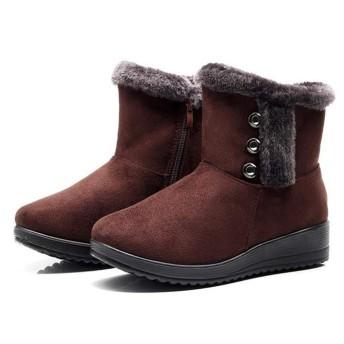 スノーブーツ ブーツ スノーシューズ 裏起毛ブーツ レディース ムートンブーツ 厚底 防寒 滑り止め 雪用 裏起毛 暖かい (Color : B-Brown, Size : 38)